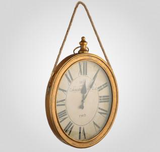 Часы настенные металлические на веревке Римское золото