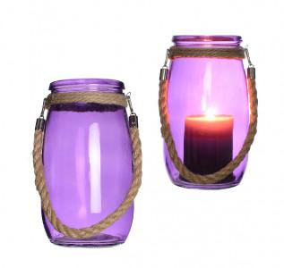Ваза стеклянная Неоновый фиолет с канатом средняя