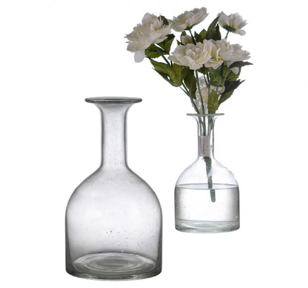 Ваза стеклянная прозрачная бутылка