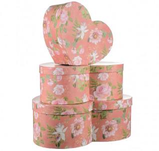 Набор подарочных коробок Розовое сердце