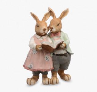 Статуэтка Кролики пара читающие