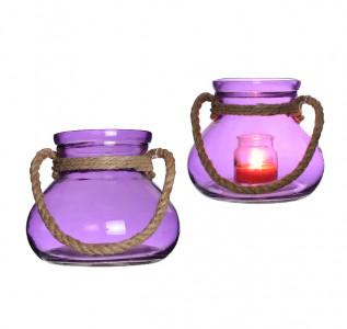 Ваза стеклянная Неоновый фиолет с канатом круглая большая