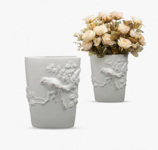 Ваза керамическая белая Птичка в саду
