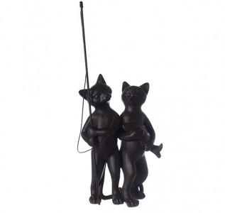 Статуэтка Черные коты на рыбалке