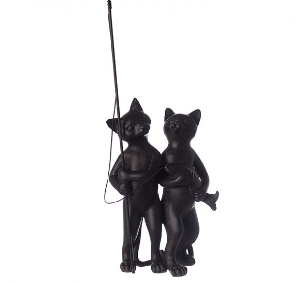 Статуэтка Чёрные коты на рыбалке
