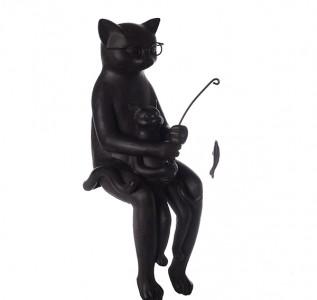 Статуэтка Черный кот с котенком на рыбалке