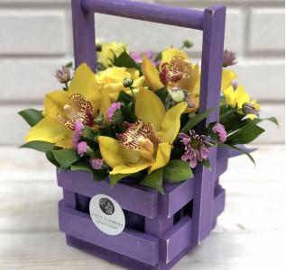 Композиция в ящике малом Фиолетовый взрыв