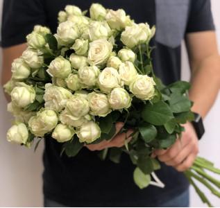 Букет из 35 белых пионовидных роз