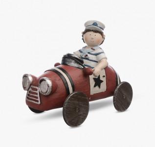 Статуэтка Мальчик в тельняшке на машине