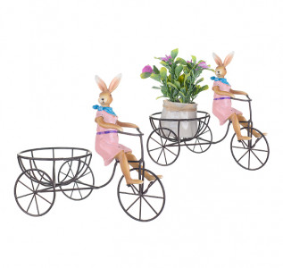 Статуэтка-кашпо Кролик на велосипеде