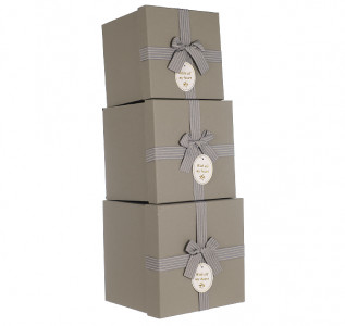 Набор подарочных коробок Серый  крафт