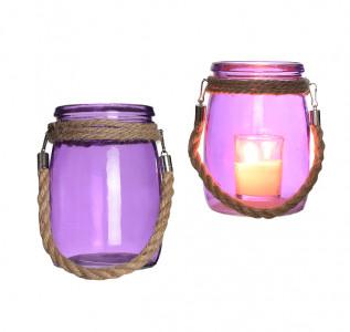 Ваза стеклянная Неоновый фиолет с канатом малая