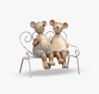 Статуэтка Мышата пара на скамейке