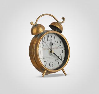 Часы будильник настольный декоративный золотистый