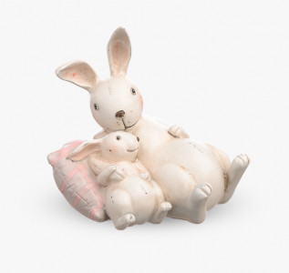 Статуэтка Кролик-папа с малышом