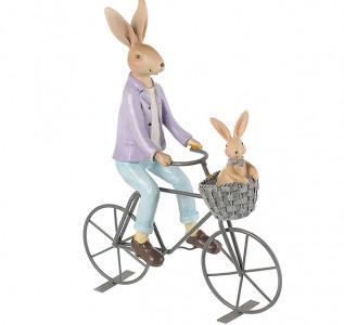 Статуэтка Семья кроликов на велосипеде