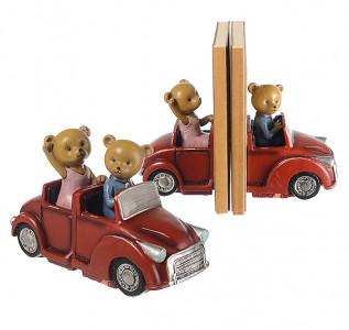 Статуэтка-книгодержатель Семья мишек на кабриолете