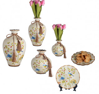 Набор из 2-х ваз и тарелки Певчая птичка из красной глины