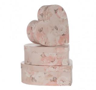Набор подарочных коробок Сердце розовое