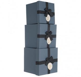 Набор подарочных коробок Синий крафт