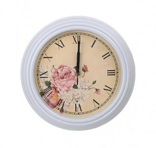 Часы настенные белые Нежность цветов