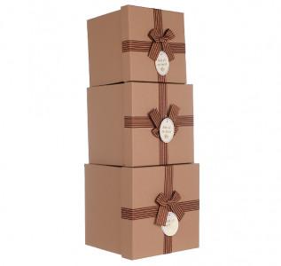 Набор подарочных коробок Светло коричневый крафт