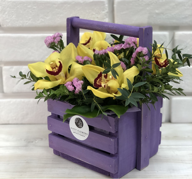 Композиция в ящике большом Фиолетовое чудо
