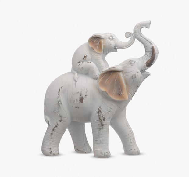 Статуэтка Мама-слон со слонёнком на спине