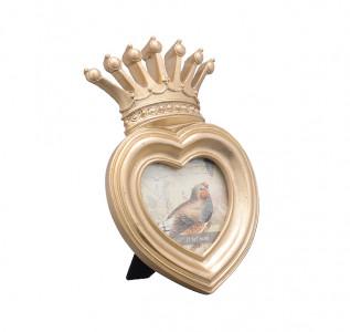 Фоторамка с короной Золотистое сердце