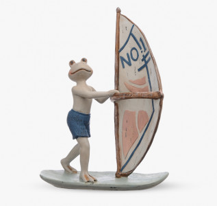 Статуэтка Лягушонок на доске для серфинга