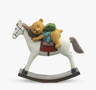Статуэтка Мишка с рюкзаком на лошадке-качалке