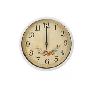 Часы настенные белые Цветочное Ретро