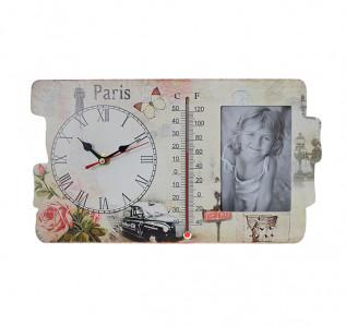 Фоторамка-часы с термометром Роза Парижа