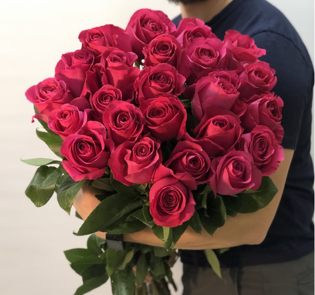 Букет Отпечаток поцелуя 25 роз