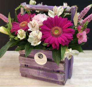 Композиция в ящике Чувства в цвете