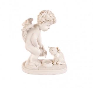 Статуэтка Ангел с кошечкой белый