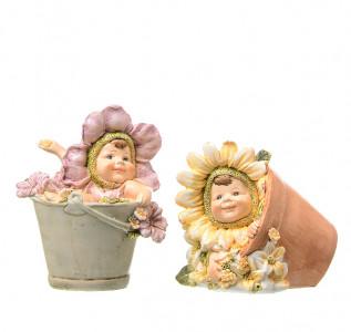 Статуэтка Дети Цветочного солнца в ведрах (2 шт)