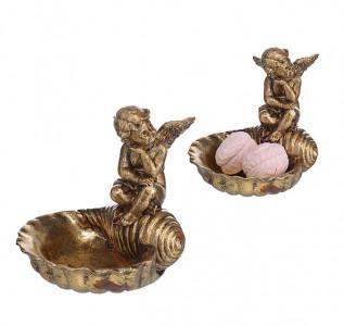 Статуэтка Конфетница золотая Задумчивый ангел