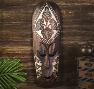Маска настенная Абориген коричневый с цветком