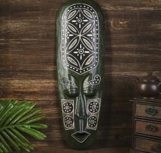 Маска настенная Абориген зеленый с орнаментом