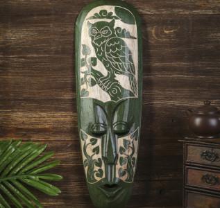 Маска настенная Абориген зеленый с совой и деревьями