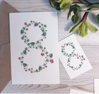 Открытка акварельная цветочная 8 марта