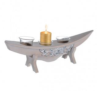 Подсвечник деревянный Лодочка Винтаж