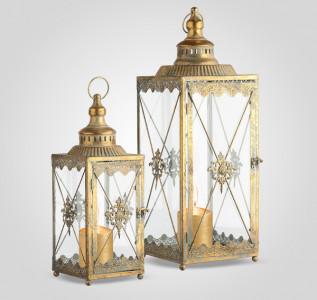 Подсвечник фонарь набор (2 шт) Золото Востока