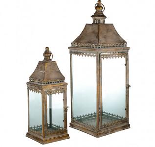 Подсвечник фонарь набор Винтаж золотой стеклянный