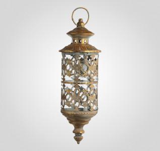 Подсвечник фонарь золотистый металлический Восточный лейтмотив