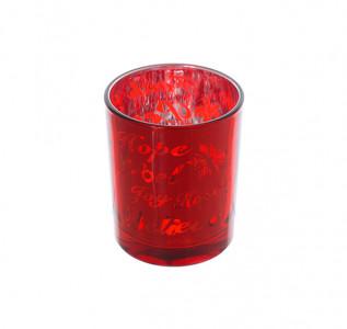 Подсвечник стеклянный Красный мак