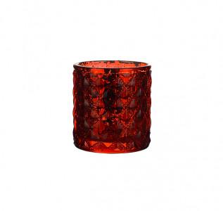 Подсвечник стеклянный Красный ромб