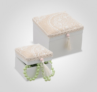 Набор квадратных бежевых маленьких шкатулок Beige Ellegance (2 шт)