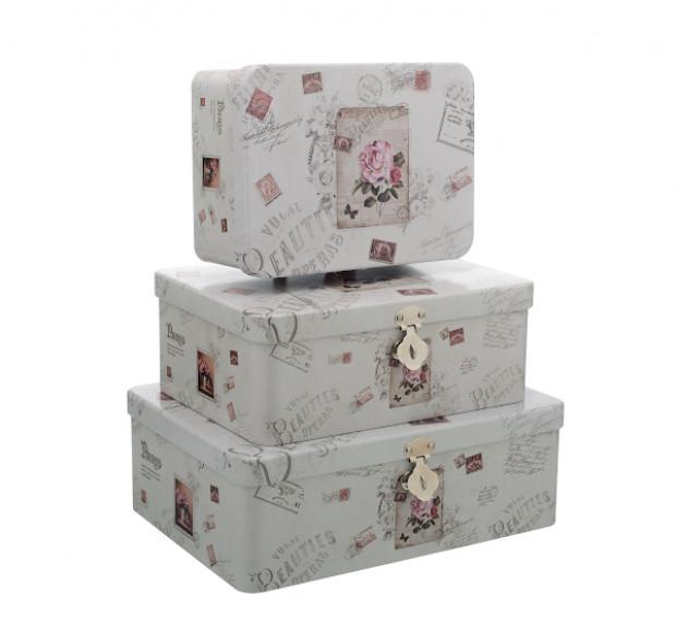 Набор металлических коробок Роза Винтаж (3 шт)